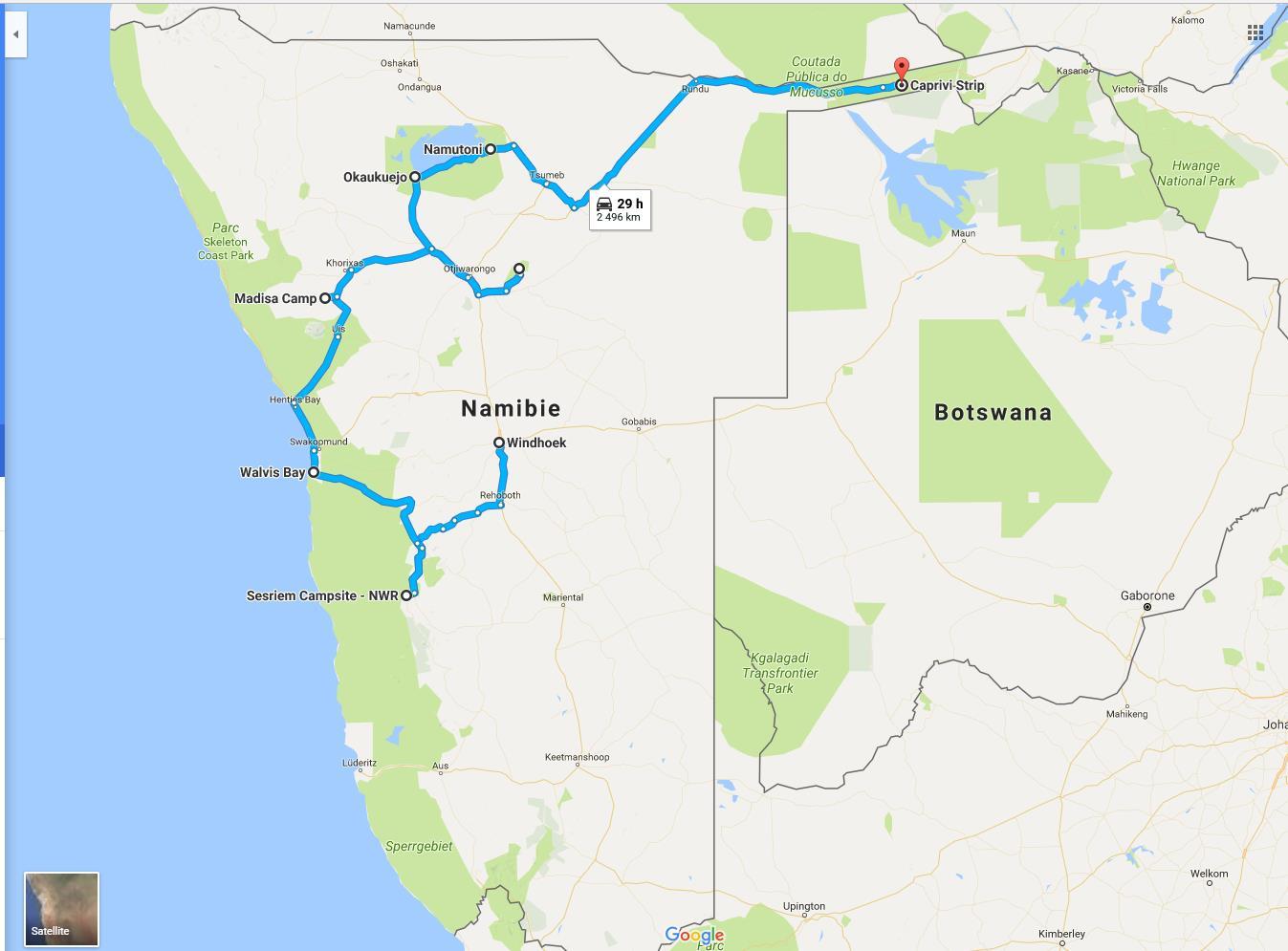 Map Namibie